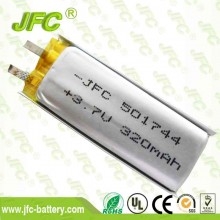 IEC 62133 approved li-ion battery JFC501744 3.7v 320mah li ion battery pack