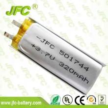 IEC 62133 approved li-ion battery JFC501744 3.7v 320mah li ion battery pack
