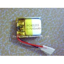 3.7V 45mAh JFC401215 lipo thin polymer battery for wireless, electronics, wireless electronic products 041215 battery