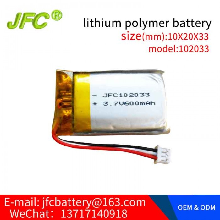 Polymer battery JFC102033 3.7V 600mah  with Connector ( NTC10K )