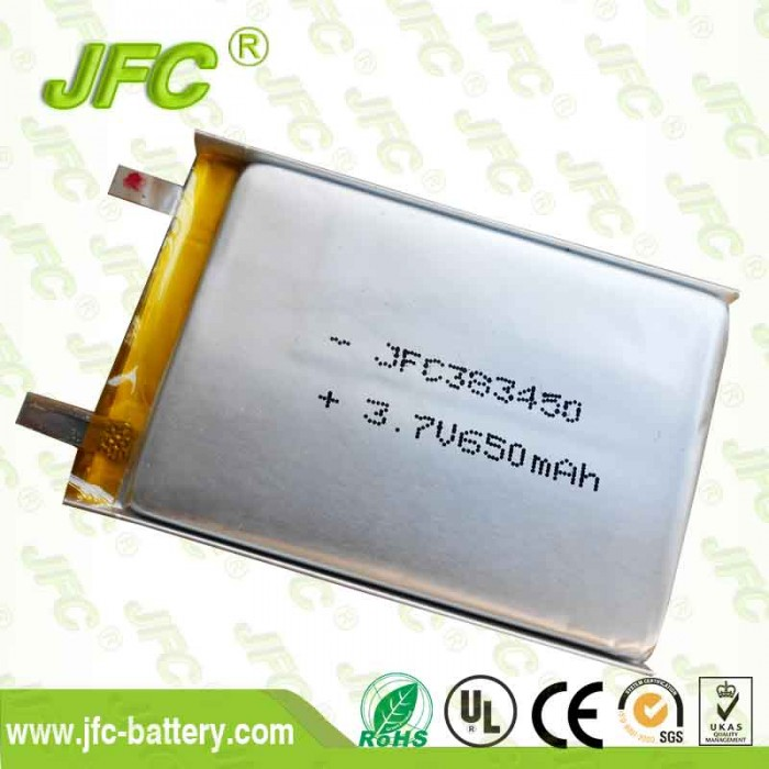 High quality  real capacity 3.7v 700mah lithium polymer battery 383450 lipo battery