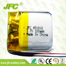 JFC451818 Li-Ion Battery 3.7V 100mAH