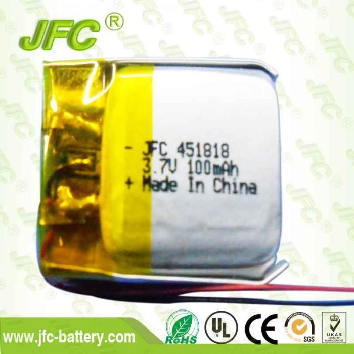 JFC451818 Li-Ion Battery 3.7V 100mAH
