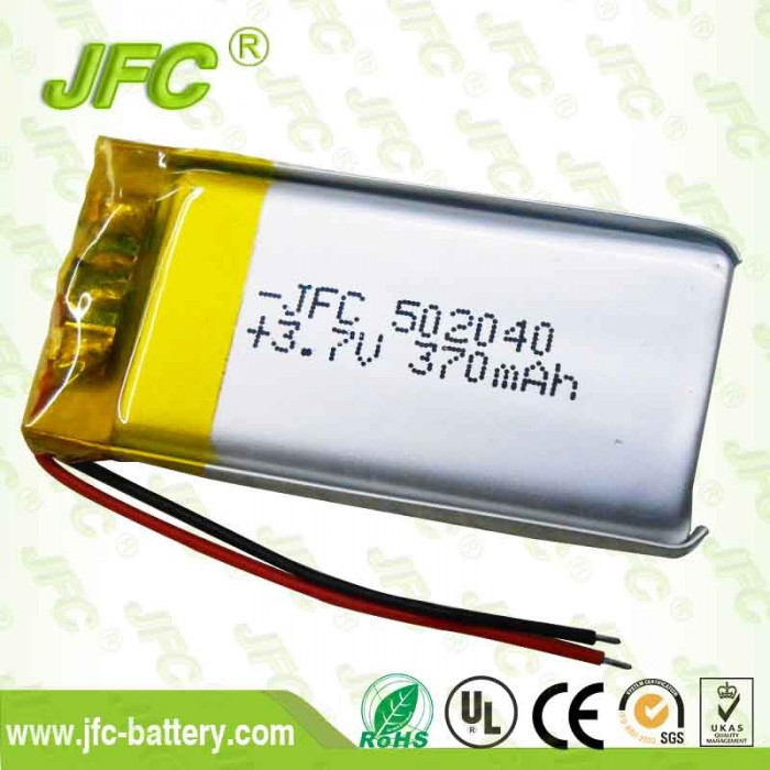 3.7V 370mAh JFC 502040 Lithium Polymer LiPo Rechargeable Battery