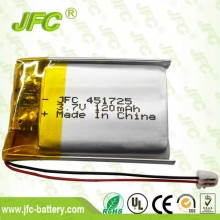 3.7v 120mah lipo battery cell JFC451725 lithium battery for headset earbuds