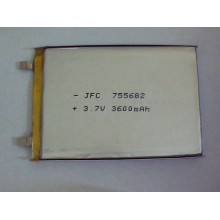 High quality and capacity lithium polymer rechargeable JFC755682 3.7v 3600mah lipo battery
