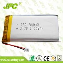 high capacity JFC703060 4.2v 1400mah lithium polymer high temperature battery