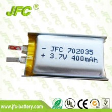 UL approved 3.7V 350mAh lithium polymer battery 400mah JFC702035 Lithium battery